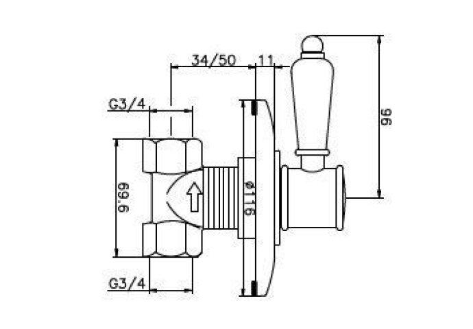Huber Victorian inbouw stopkraan Brons 160VT51HBA