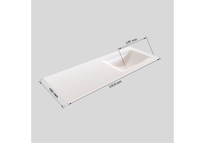 Badkamermeubel Solid Surface BWS Oslo 120x45 cm Mat Zwart Urban Rechts (1 kraangat)