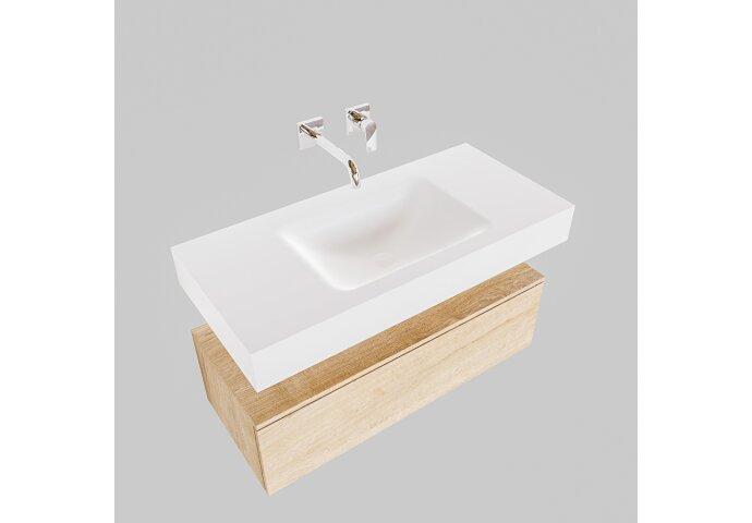 Badkamermeubel BWS Ibiza 100 cm Washed Oak Solid Surface Wastafel Mat Wit (zes varianten)