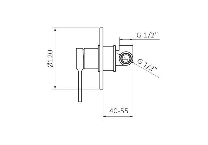Inbouw Douchekraan GRB Aura 1-Wegs Chroom