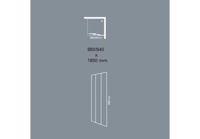 Schuifdeur 3-delig Plieger Economy 88/94x185cm 2.2mm Acryl Aluminium