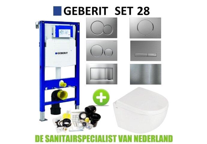 Geberit UP320 set28 B&W Zero Compact met Sigma drukplaat