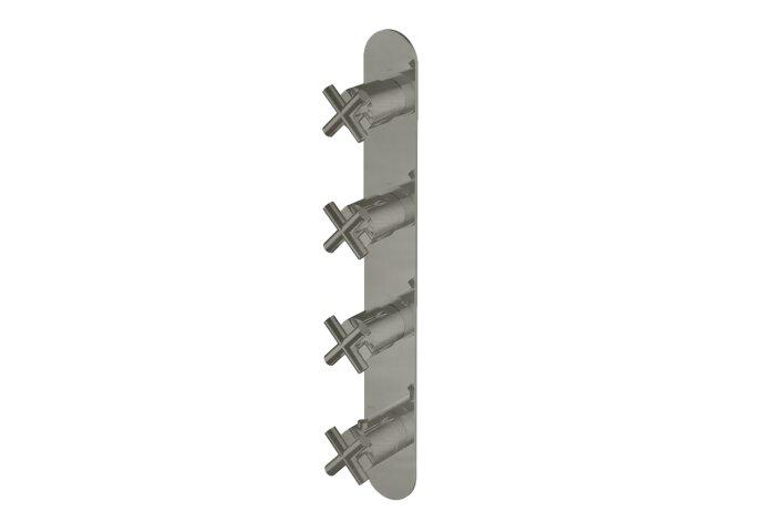 Douchethermostaat Hotbath Chap Inbouw 3 Stopkranen Verticaal Geborsteld Nikkel