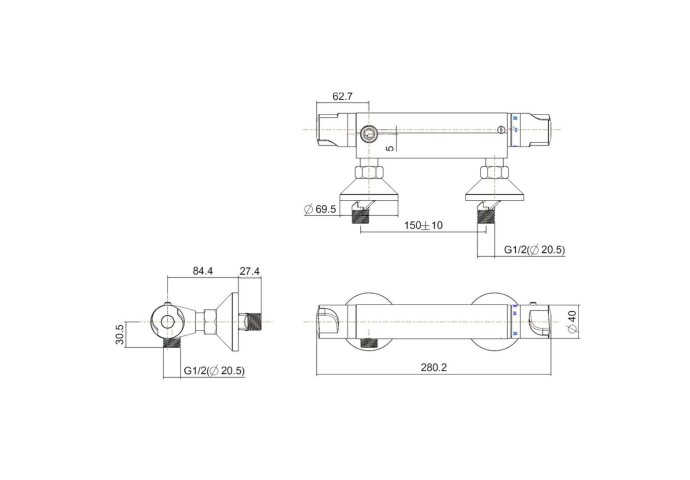 BWS Thermostatische Douchekraan Universal 15 cm Chroom