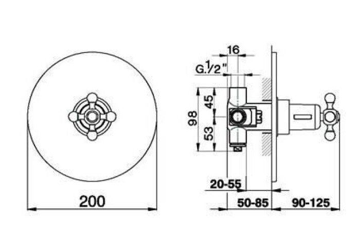 Cisal Arcana Ceramic afdekset inbouwthermostaat rvs AC00180002A