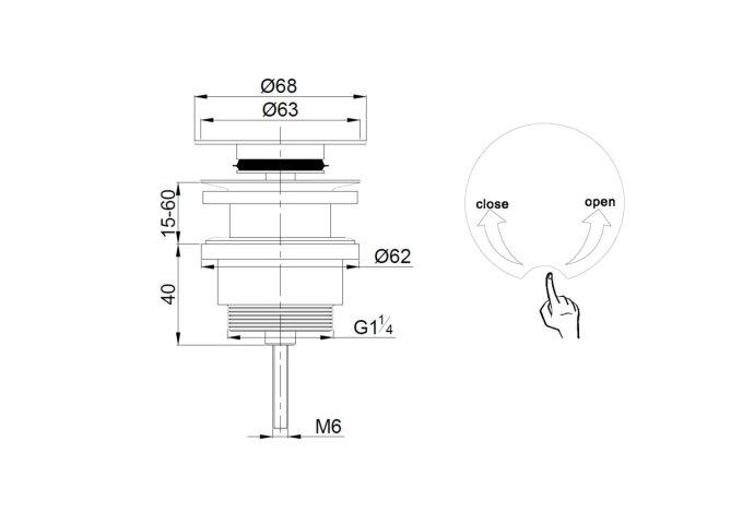 Klikwaste Chroom 5/4 Boss & Wessing Luxe Korte Clickwaste 6,5cm