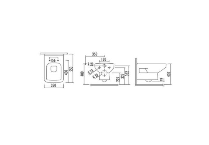 Wandcloset Creavit Design met Bidet Keramiek Wit (Excl. Zitting)