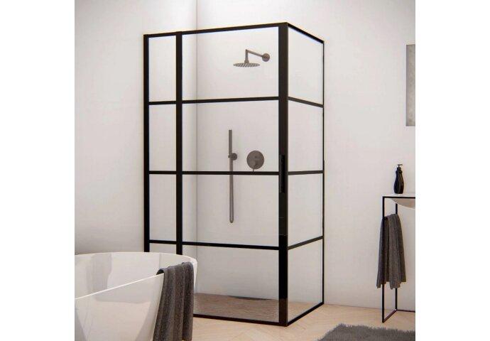 BWS Douchecabine Frame 110x120 cm 8 mm NANO Glas Mat Zwart Raster