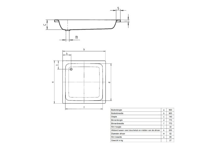 Douchebak VM Isifix 90x90x15cm Plaatstaal Vierkant Voor Inbouwmontage