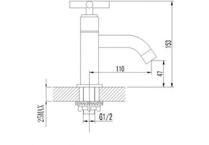 Toiletkraan Cross Laag Model 1/2 chroom (Kranen overige)