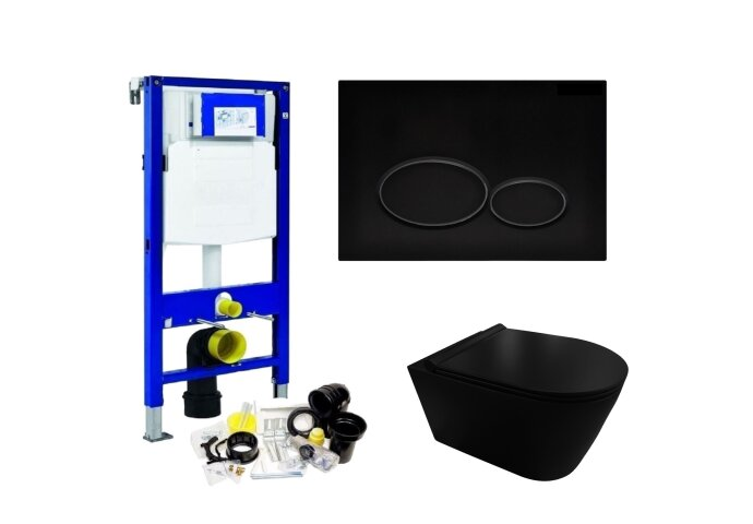 Geberit UP320 Toiletset set44 Civita Black Rimless Met Matzwarte Drukplaat