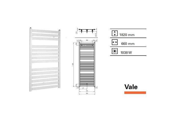 Designradiator Vale 1820 x 660 mm Mat Wit