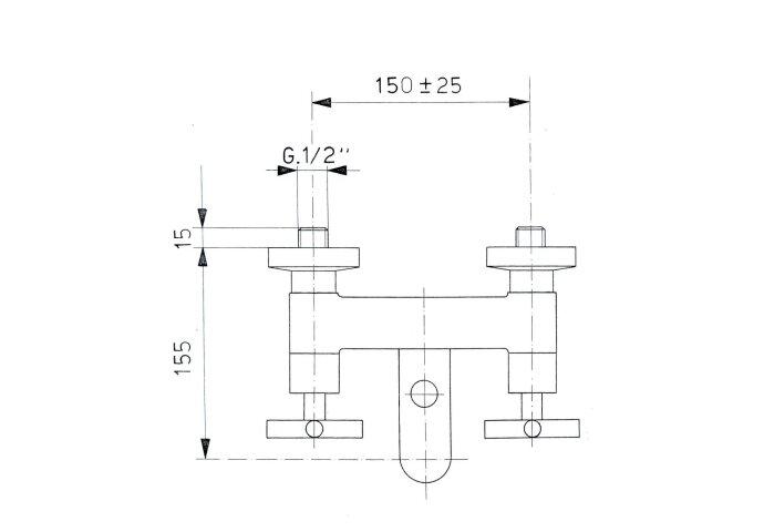 Badkraan Opbouw Sapho Axia Mengkraan 2-kruisgreep Chroom