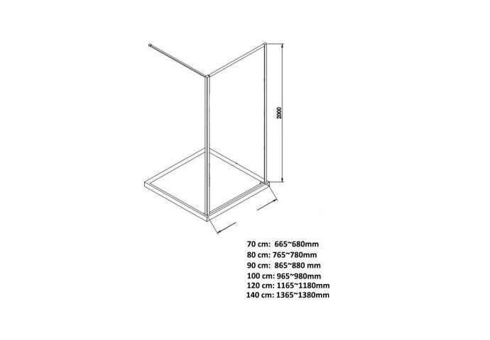 BWS Inloopdouche Pro Line Rookglas 70x200 Nano Coating Mat Wit Profiel en Stabilisatiestang