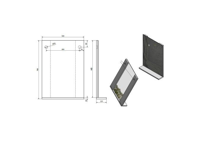 Badkamerspiegel Sapho Beta 50x70x12 cm met Planchet Aluminium