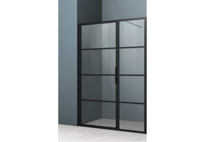 Nisdeur Lacus Tremiti met Vast Paneel 90 6mm Helder Glas Mat Zwart Aluminium Profiel