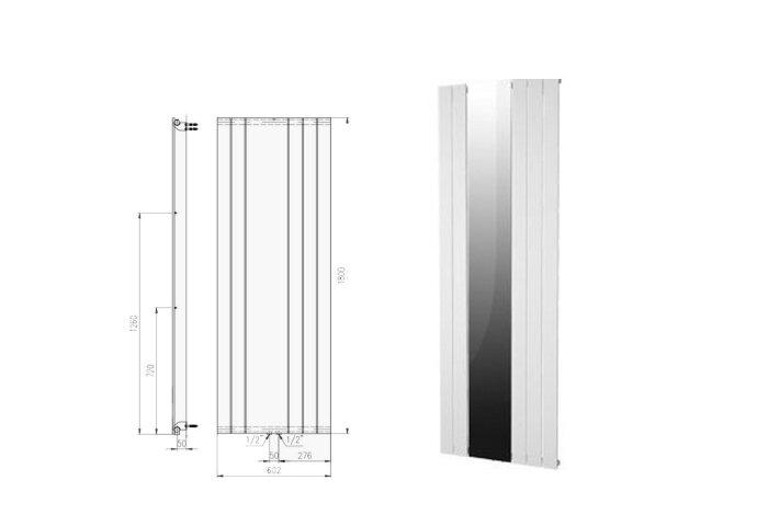 Designradiator Plieger Cavallino Retto Specchio 773 Watt Middenaansluiting 180x60,2 cm Zilver Metallic